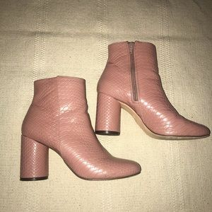 Light pink faux snakeskin ankle boots